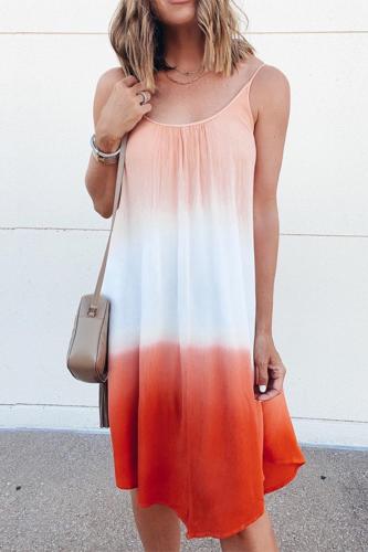 Fashion Casual Sleeveless Tie Dye Halter Loose Women Summer Dress Sundress Women Summer Casual Dress Beachwear