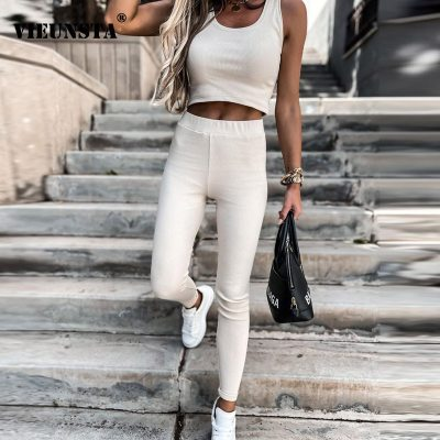 Women Casual Solid Two Piece Sets 2021 Summer Off Shoulder Vest Tops and Skinny Pants Suit Spring O Neck Backless Ladies Outfits