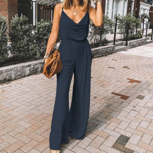 Women Sexy V Neck Spaghetti Strap Jumpsuits 2021 Summer Casual Sling Wide-Leg Long Playsuits Loose Elastic Waist Long Rompers