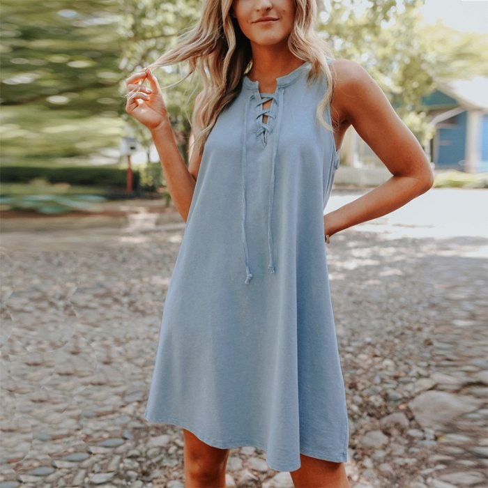 2021 New Women Cotton Dress Loose Summer Sleeveless Dress For Girls Europe and America Clothes Drop Shipping