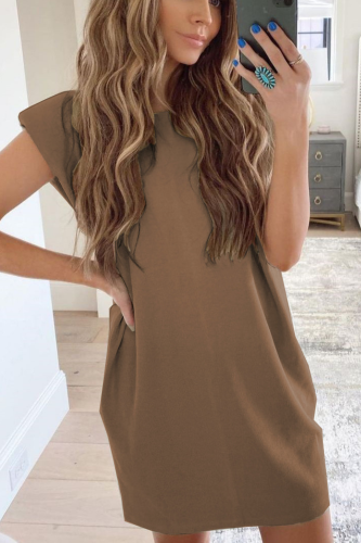 Women's Clothing Elegant Fashion Casual Loose O Neck Solid Color Sleeveless Dress 2021 European And American Spring Summer New