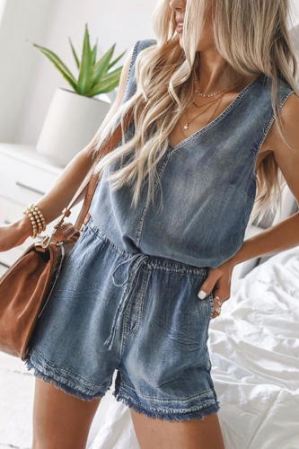 Women Summer Sexy V Neck Tank Denim Jumpsuit Lace-up Jumpsuits Body 2021 Women Clothes Romper Stitching Bodysuit Indie Overalls
