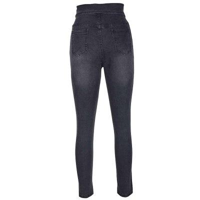 Autumn Button Tight Pencil Pants High Waist Jeans Women Elastic Black Gray Sexy Ankle-length Pants Jeans for Women Plus Size