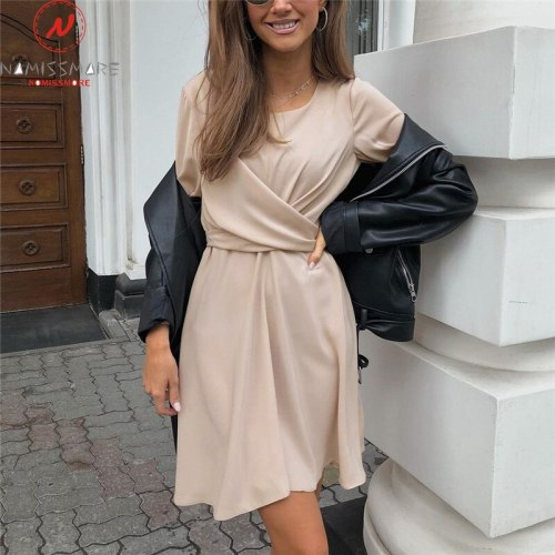 Fashion Women Summer Solid Color A-Line Dress for Streetwear Shrinkage Design Belt Zipper Decor O-Neck Long Sleeve Mini Dress