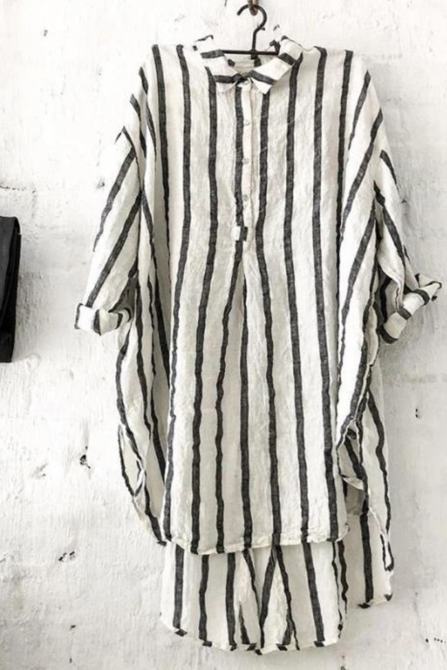 Cotton And Linen Striped Short-Sleeved Blouse Shirt
