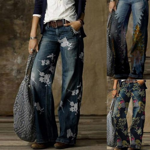 New Casual Retro Printed Denim Pants Women Straight Jeans Wide Leg Pants Loose Tube Long Trouser Cozy джинсы Plus Size In-Stock
