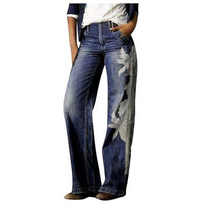 1Pcs Woman Jeans H03901 ladies fashion print jeans Fashion Printed Jeans Casual Long Pants Женские штаны