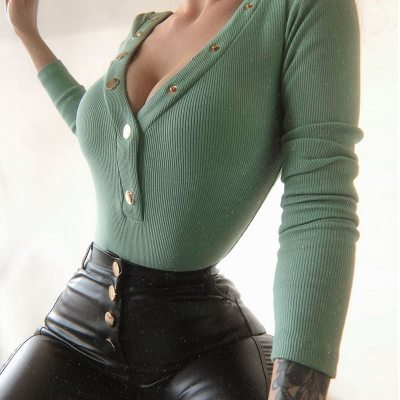 Women Sexy V-Neck Button Blouses Shirts Autumn 2020 Elegant Casual Long Sleeves Solid Tops 5XL Female Vintage Fashion Slim Blusa