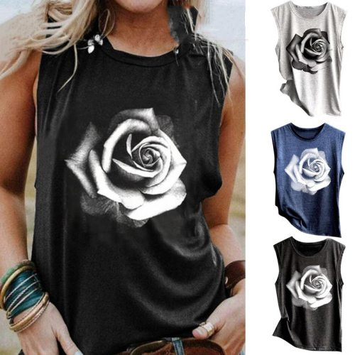 Sleeveless Tank Shirt Women's Summer Casual Rose Printed Off Shoulder Tshirt Round Neck Cotton Beach Vest Clothes Ropa De Mujer