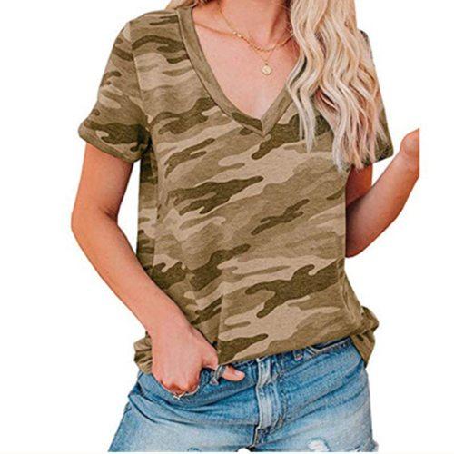 Women Sexy Leopard Print Slim Fit V-Neck T-Shirt Women Top Fashion New Summer Camouflage Short Sleeve T-Shirt All-Match Tops 3XL