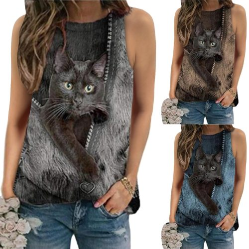 Women's Summer Round Neck Cat Print Retro Sleeveless Shirt Loose Casual Oversize Beach Vest Tshirt Plus Size Ropa De Mujer