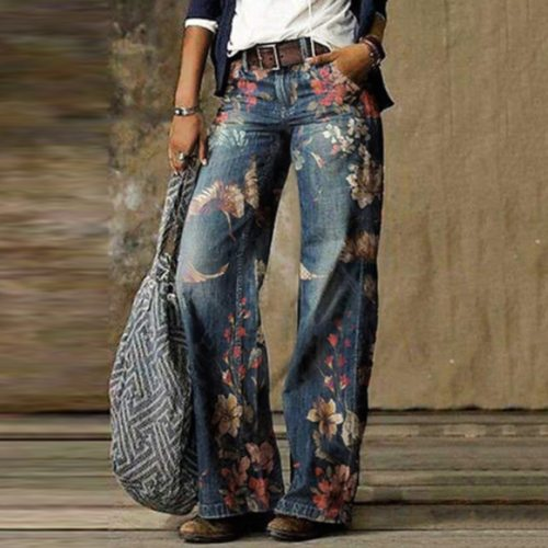 Casual Plus Size Loose Jeans Women Autumn Winter Elegant Floral Print Denim Pants Vintage Ladies Wide Leg Jean Trousers 3XL 2020
