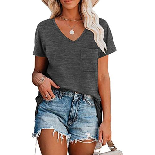 Pure Color Casual V-neck Pocket Loose Short Sleeve Ladies Summer T-shirt Casual Outdoor Large Size Women's Tops 2021 new