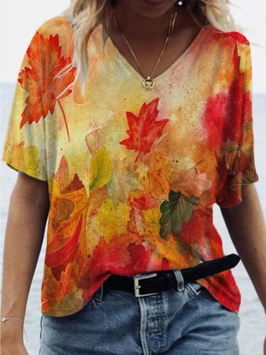 loose T-shirts Women Jumpers short Sleeve V-neck Tops Woman Pullover female printed oversize sexy fashion cloth undershit FC0431