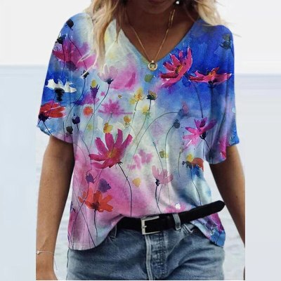 Loose T-Shirts Women Jumpers Short Sleeve V-Neck Tops Woman Pullover Female Printed Oversize Sexy Fashion Cloth Undershit