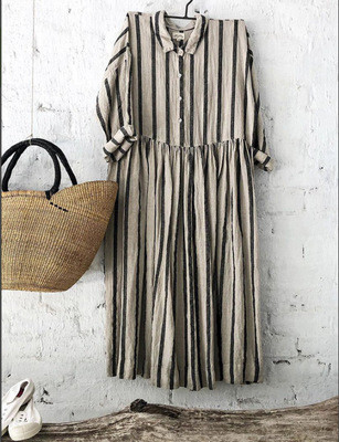 Cotton Striped Short-Sleeved  Blouse Shirts