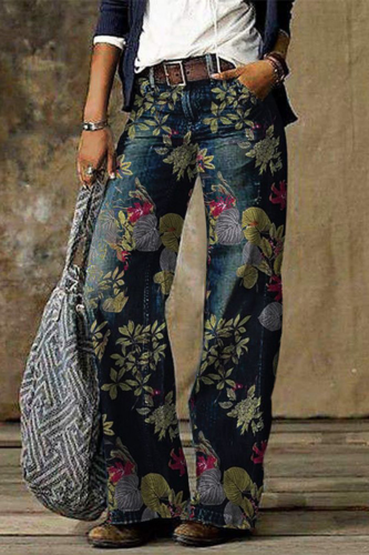 Casual Denim Wide Leg Pants Color Prints Jeans Women Trouser Loose Straight Tube Long Cozy Vintage джинсы Plus Size Wholesale A