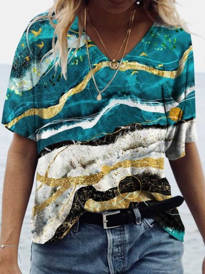 loose T-shirts Women Jumpers short Sleeve V-neck Tops Woman Pullover female printed oversize sexy fashion cloth undershit FC0429