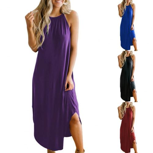 Summer Fashion Sleeveless Sling Halter Dress Comfortable Women Solid Color Dress