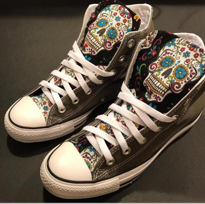 Women Flats Casual Shoes Woman Plus Size Canvas Fabric High-Top Boots Skull Shoe Chaussures Femme Zapatos Mujer Sapato NH214