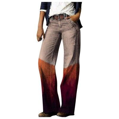 2021 Fashion Printed Denim Pants Women Straight Jeans Casual Loose Tube Long Trouser Cozy джинсы Female Plus Size Wide Leg Pants