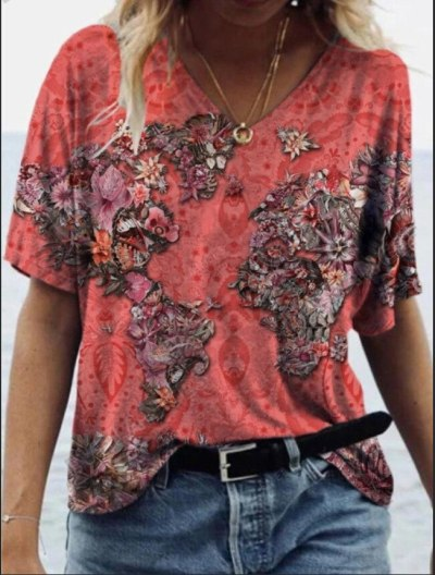 loose T-shirts Women Jumpers short Sleeve V-neck Tops Woman Pullovers female summer printed fashion sexy cloth undershit AC0340