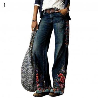 Casual Plus Size Loose Jeans Women Autumn Winter Elegant Floral Print Denim Pants Vintage Ladies Wide Leg Jean Trousers 3XL 2020