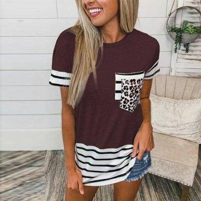 Leopard Print Stripe Patchwork Pocket O-neck Short Sleeve Tunic Tops Women Summer Casaul Loose Plus Size Tshirt Female Tee Shirt
