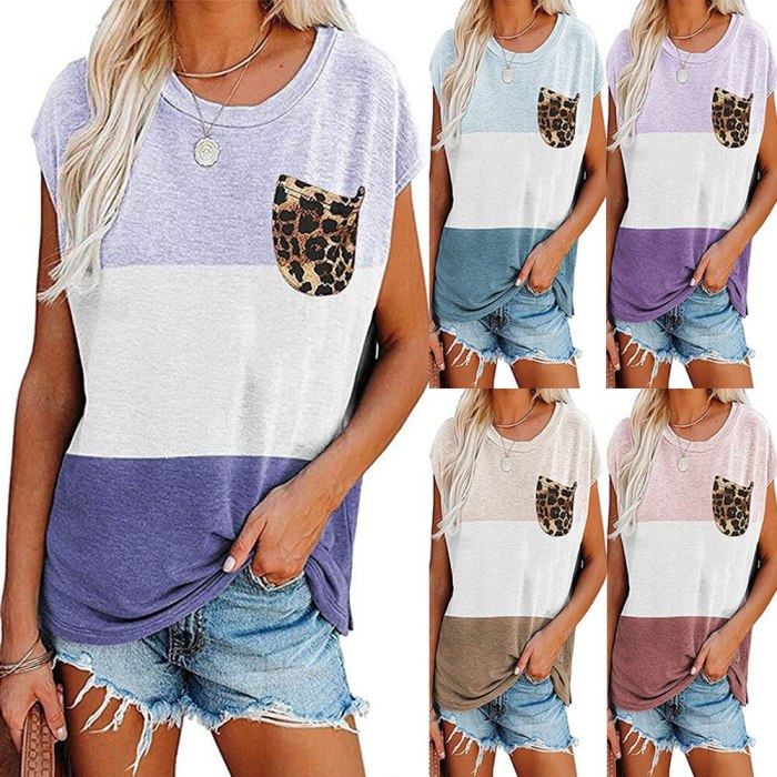 Loose Casual Color Matching Leopard Print Pocket Short-Sleeved T-Shirt Women'S Loose Plus Size Tops 5XL 2021 New
