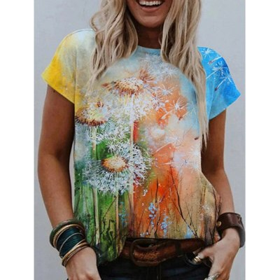 Dandelion Print Tees Women Summer Casual Short SleeveTshirt Vintage Round Neck Loose Oversize Festival Tops Ropa De Mujer S-5XL