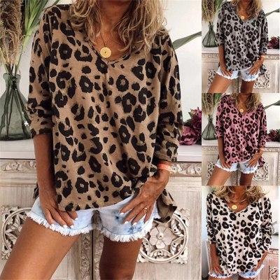 Autumn Women Sexy V-Neck T-Shirt Fashion Casual Women Leopard Print Long Sleeves Loose Tee Shirt Women Plus Size Tops Tees