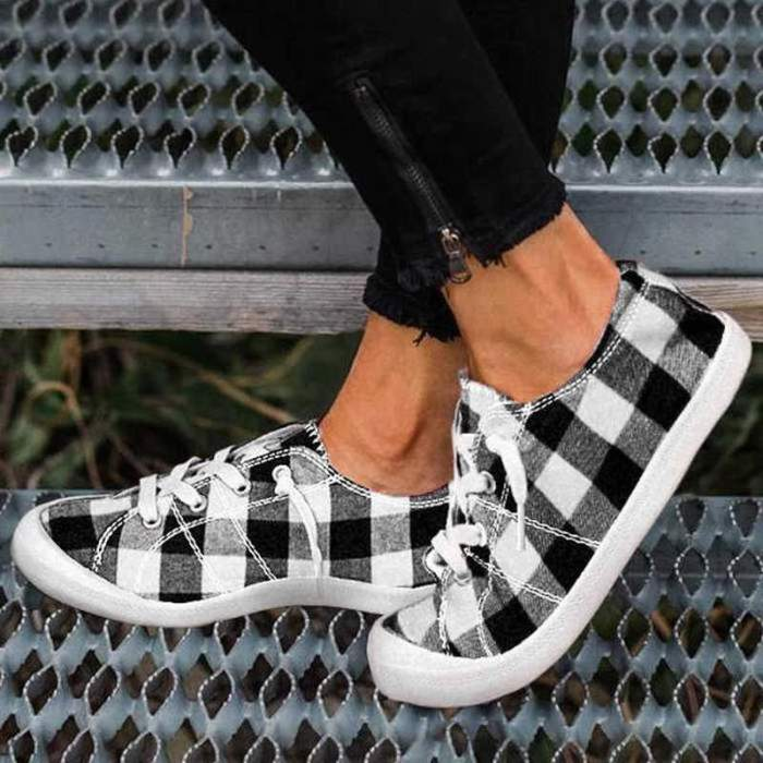 Women Flats Casual Shoes Woman Plus Size Canvas Fabric Lace-Up Hiking Light Shoe Chaussures Femme Zapatos Mujer Sapato D2420