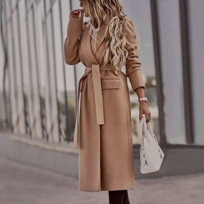 2021 Women Jacket New Slim OL Lapel Jacket Brown Long Winter Woolen Coat Long Sleeve Large Size Streetwear