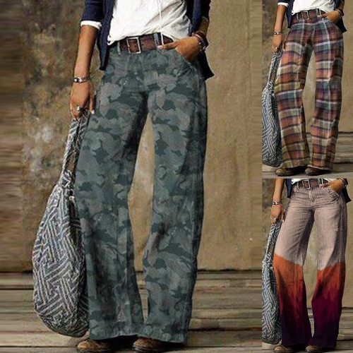 2021 Fashion Printed Denim Pants Women Straight Jeans Casual Loose Tube Long Trouser Cozy джинсы Female Plus Size Wide Leg Pants