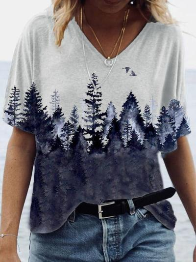 Loose T-Shirts Women Jumpers Short Sleeve V-Neck Tops Woman Pullover Female Printed Oversize Sexy Fashion Cloth Undershit FC0430