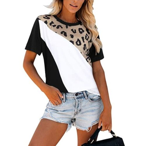 Round Neck Women'S Contrast Color Stitching Short-Sleeved T-Shirt Casual Outdoor Ladies Round Neck Loose Top Summer T-Shirt 2021