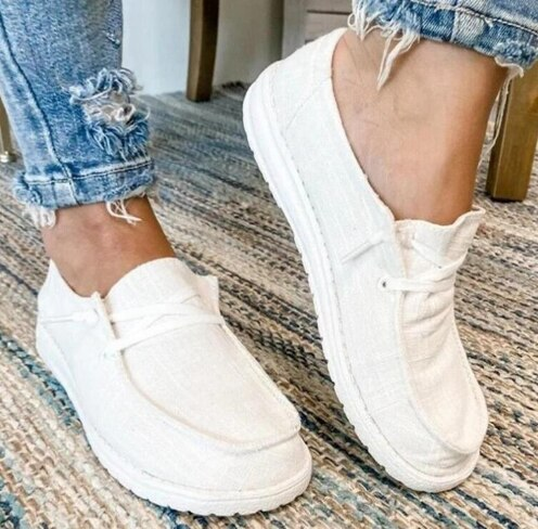 Hiking Light Shoe Women Flats Casual Shoes Woman Plus Size Canvas Fabric Lace-Up Chaussures Femme Zapatos Mujer Sapato D2421