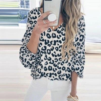 Woman Blouse Long Lantern Sleeve Leopard Print V Neck Tee Casual Popular Blouse Office Ladies Shirts Blusas Mujer De Moda 2020