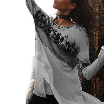 5xl Plus Size Blouse Women Blusas Mujer De Moda 2021 Long Sleeve Fashion Printed Tunic Clothes Korean Fashion Clothing Blusas