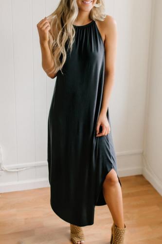 Summer Fashion Sleeveless Sling Halter Dress Comfortable Women Solid Color Dress