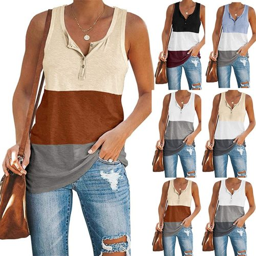 Stitching Hit Color Casual Loose Sleeveless Vest Women Summer A-Shaped Sleeveless T-Shirt Camisole High Street 2021 New
