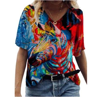 New Tiny Cat Printed Women T Shirt Summer Casual Short Sleeve V Neck Female Tees Plus Size Harajuku Top Streetwear Clothing 3XL