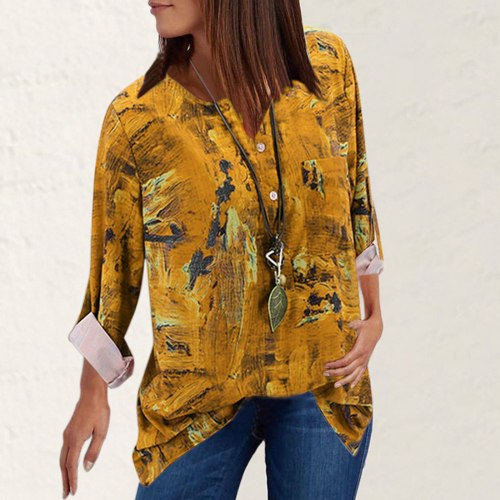 Women Tops Plus Size Casual Vintage Printed V-Neck Long Sleeves Turndown Collar T-Shirt Tops Women Clothing ropa de mujer 2020