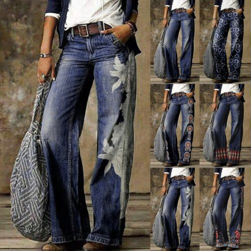 1Pcs Woman Jeans H03901 ladies fashion print jeans Fashion Printed Jeans Casual Long Pants Женские штаны