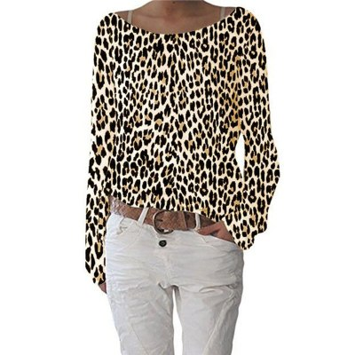 S-5XL Large Size Women Loose T shirt Fashion Tie-Dye Print Long Sleeve O-Neck Casual Tee New Autumn Female T shirt Leopard Tops