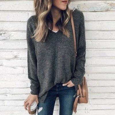 Women V-neck Solid Color Hoodies Pullover Autumn Winter Fashion Coat Loose Fleece Thick Sweatshirt Female Толстовка 2020 #T2G