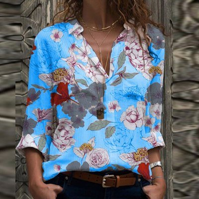 Women Vintage Floral Print Blouse Shirts 2020 Autumn Elegant Turn-Down Neck Long Sleeves Tops Office Lady Casual Plus Size Blusa