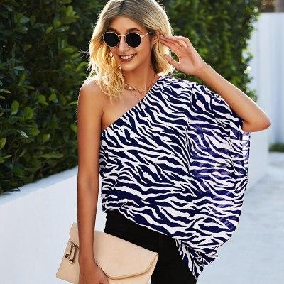 Women's Summer Spring 2021 New Zebra Pattern Street Style Tops Ladies Loose Skew Collar Chiffon Print Casual Blouses