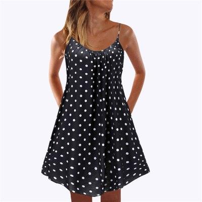 Lady Beach Dress Sexy Sleeveless Spaghetti Strap Mini Beach Party Dress 2021 New Summer Dot Floral Printed Dress Women Vestidos