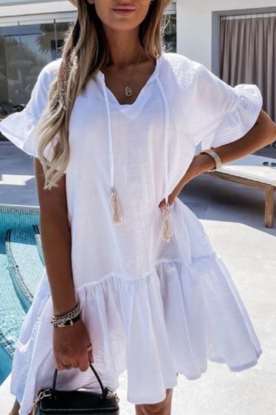 Fashion V Neck Loose Casual Beach Woman Dress 2021 Summer Short Sleeve White Black Mini Dresses For Women Sundress Robe Femme